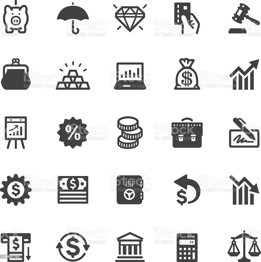 Finance icons - Black series vector art illustration