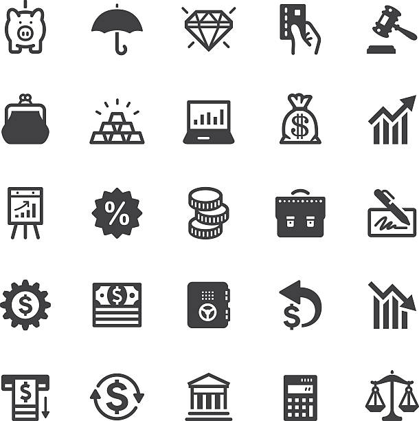 Finance icons - Black series Vector icons. Black series. One icon consists of a single object. Files included: Vector EPS 10, JPEG 3000 x 3000 px, transparent PNG, AI 17 change purse stock illustrations