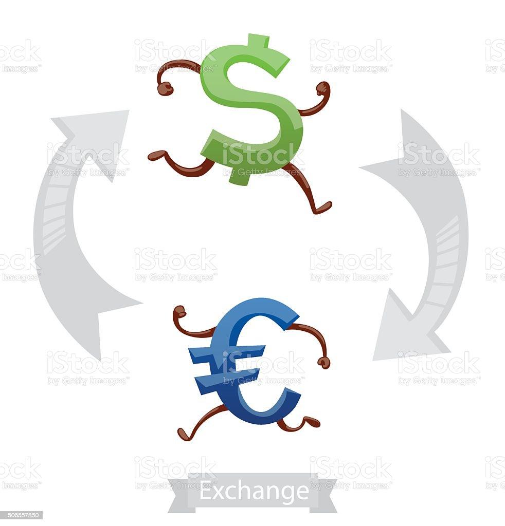 Finance Icons Currency Symbols Running Dollar Euro Stock Vector Art