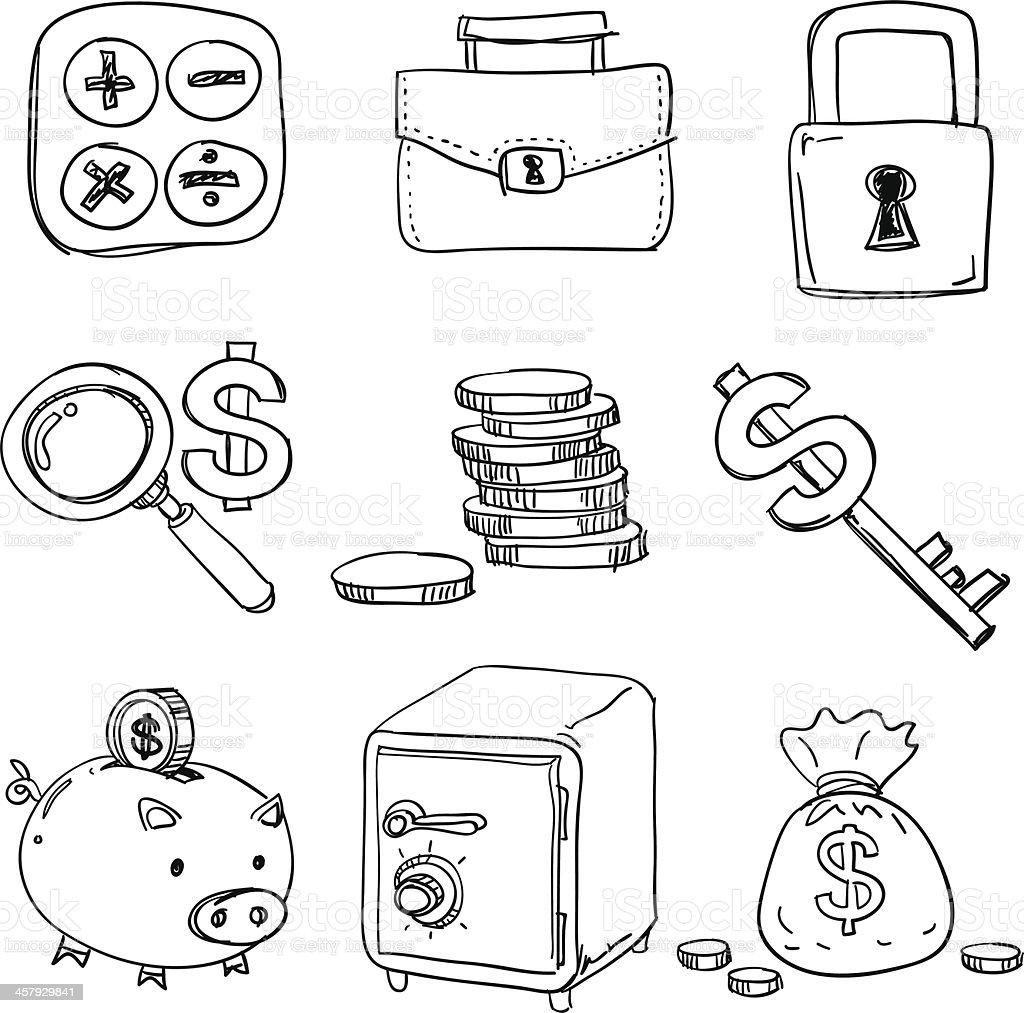 Finance icons in black white vector art illustration