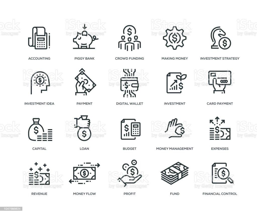 Finansiera ikoner - Line serien - Royaltyfri Affärsstrategi vektorgrafik