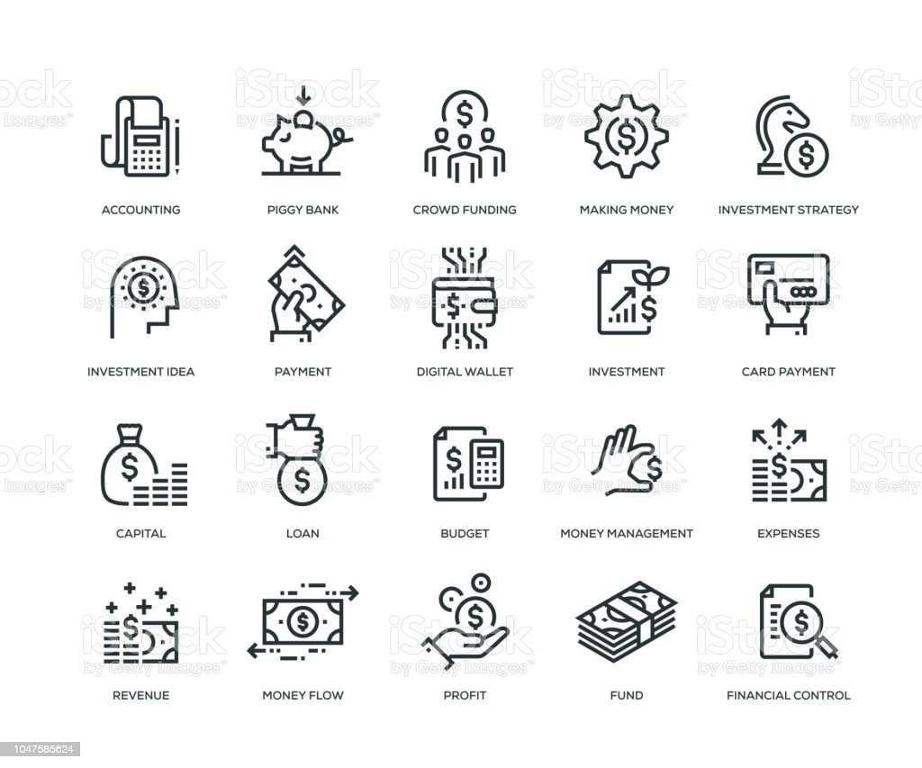 Finance Icons - Line Series vector art illustration
