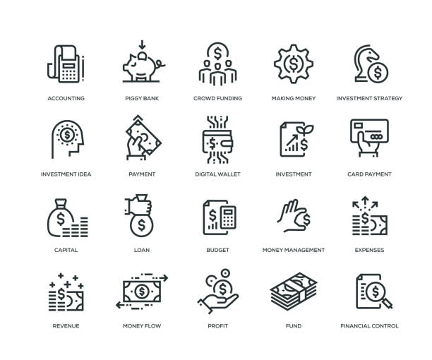 finance icons - line series - płacić stock illustrations