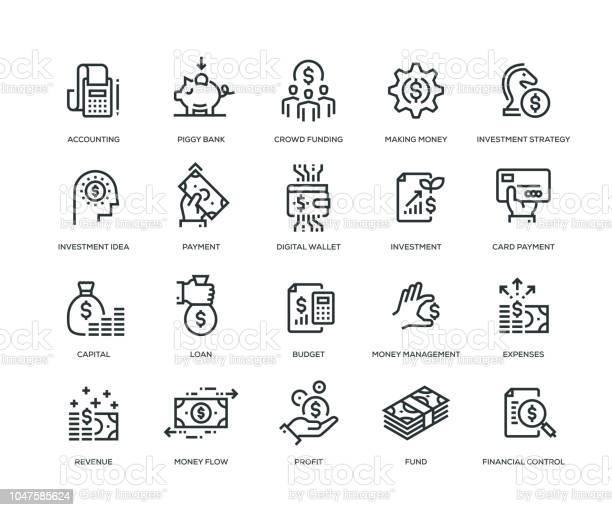 Finansiera Ikoner Line Serien-vektorgrafik och fler bilder på Affärsstrategi
