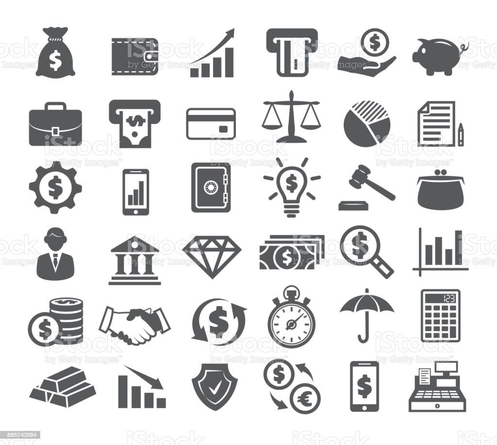 Finance Icons on white