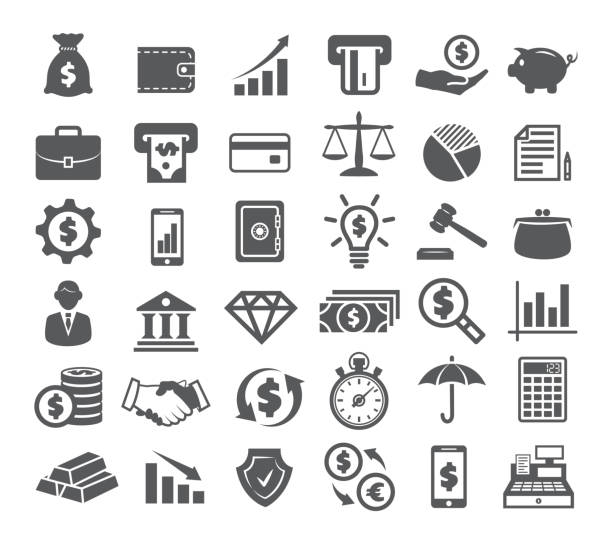 finance icons on white - bank stock illustrations