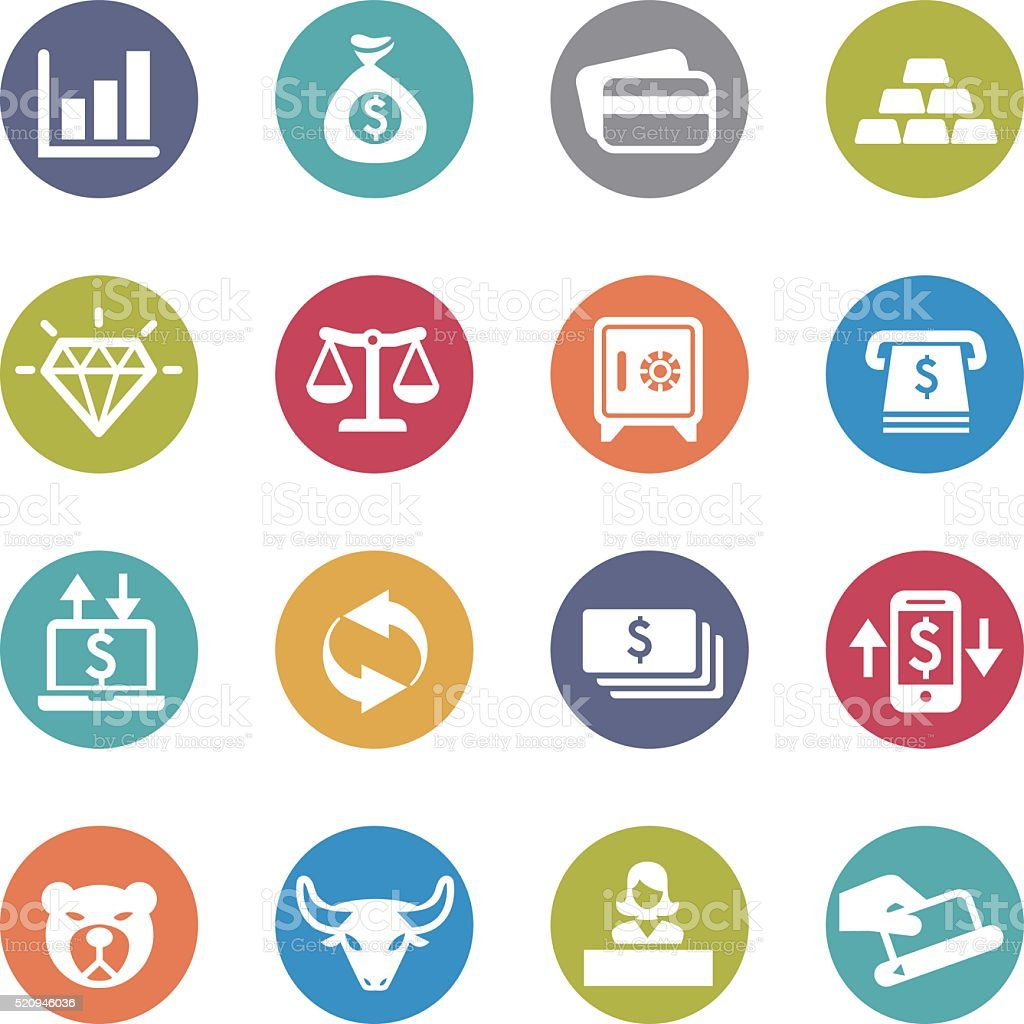 Finance Icons Set - Circle Series vector art illustration