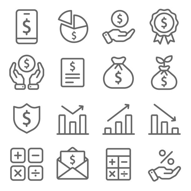 illustrazioni stock, clip art, cartoni animati e icone di tendenza di finance icons set vector illustration. contains such icon as calculator, financial agreement, growth, business report and more. expanded stroke - appalti pubblici