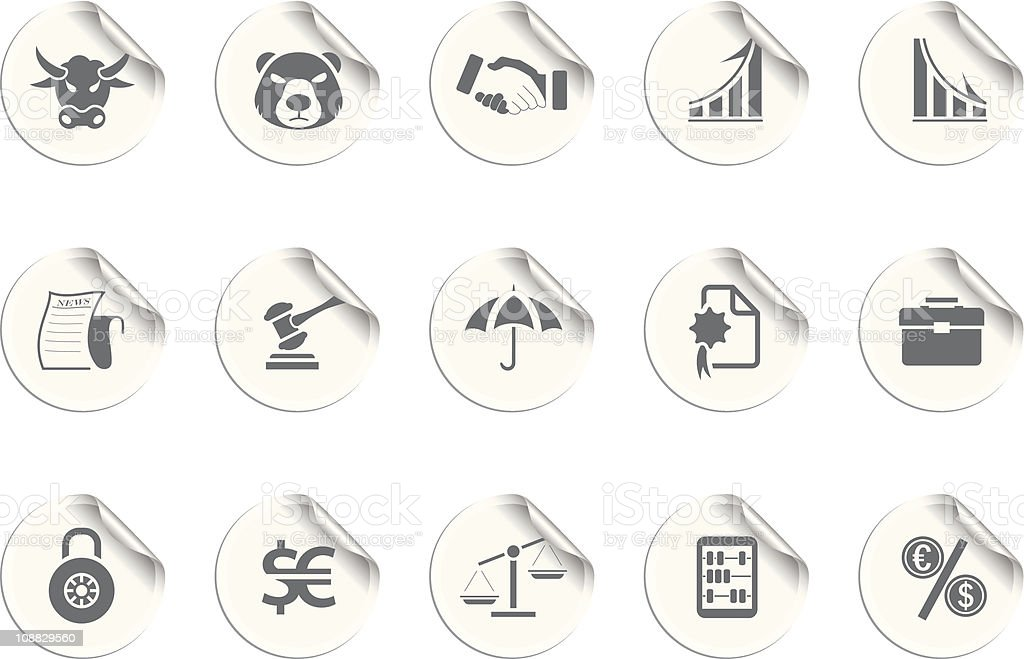 Finance icons   Sticky series royalty-free stock vector art