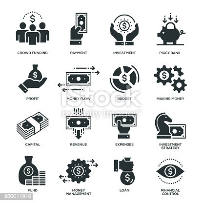 Finance Icons - 16 Monochrome Icons