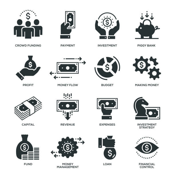 Finance Icons Finance Icons - 16 Monochrome Icons cash flow stock illustrations