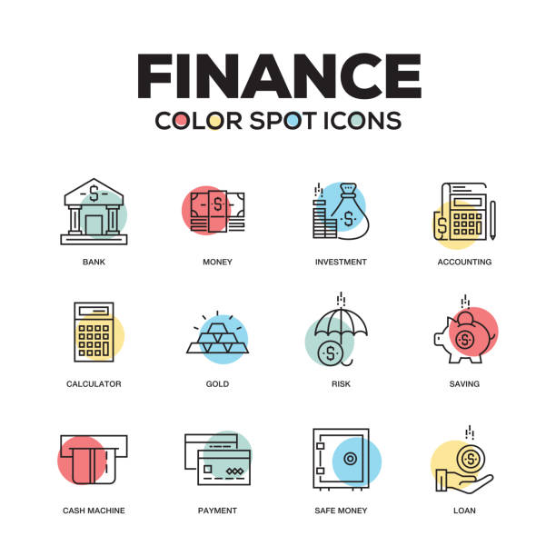 Finance icons. Vector line icons set. Premium quality. Modern outline symbols and pictograms. Finance icons. Vector line icons set. Premium quality. Modern outline symbols and pictograms. safety deposit box stock illustrations