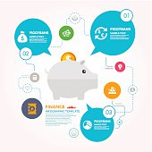 Finance Infographic template with piggy bank and diagrams