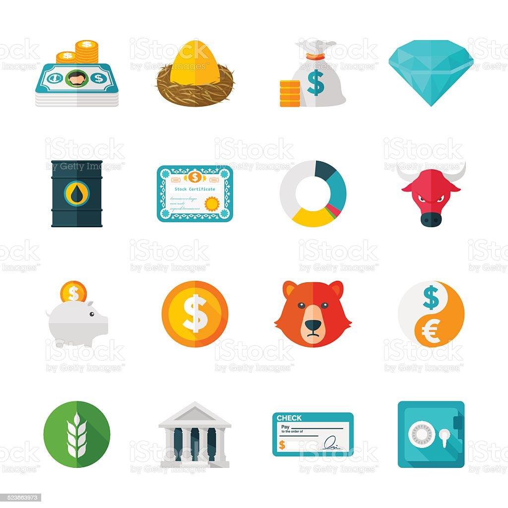 Finance & Investmen Set | Flat Design Icons vector art illustration