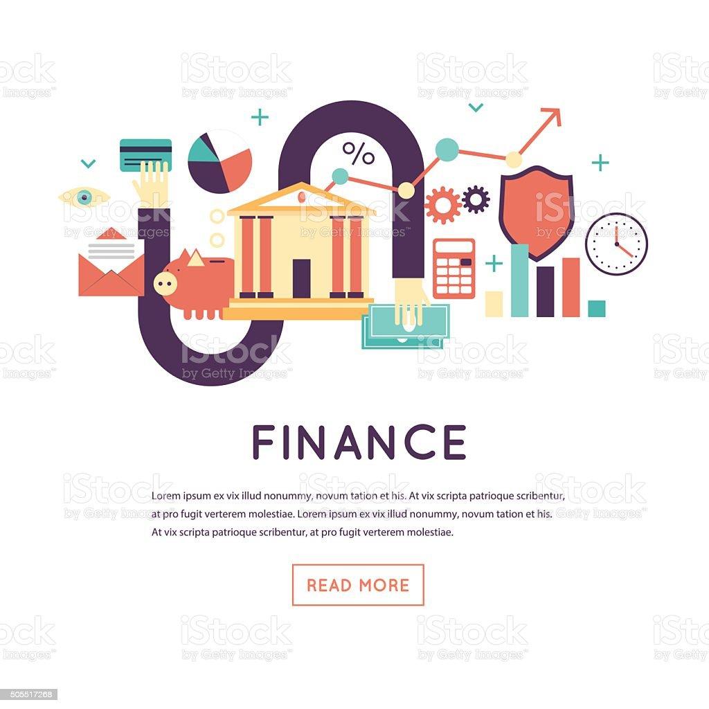 Finanzas, retención de crédito, inversión, la contabilidad, de gestión financiera. - ilustración de arte vectorial