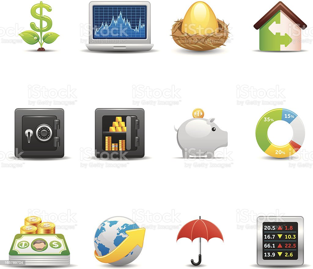 Finance & Investment Icon Set | Elegant Series royalty-free finance investment icon set elegant series stock vector art & more images of bank account