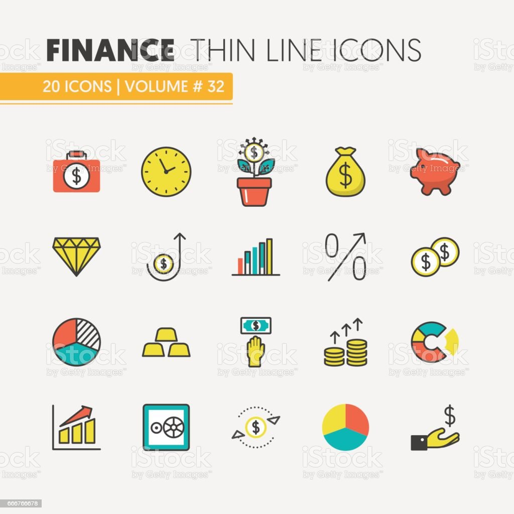 Finance Investment Linear Thin Icons Set vector art illustration