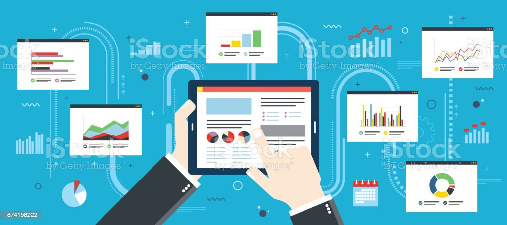 Finance investment planning, analytics chart strategy on mobile device. vector art illustration