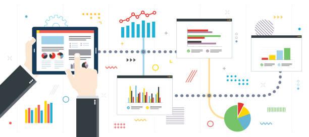 ilustraciones, imágenes clip art, dibujos animados e iconos de stock de planificación de inversiones financieras con gráfico analítico - planificación financiera