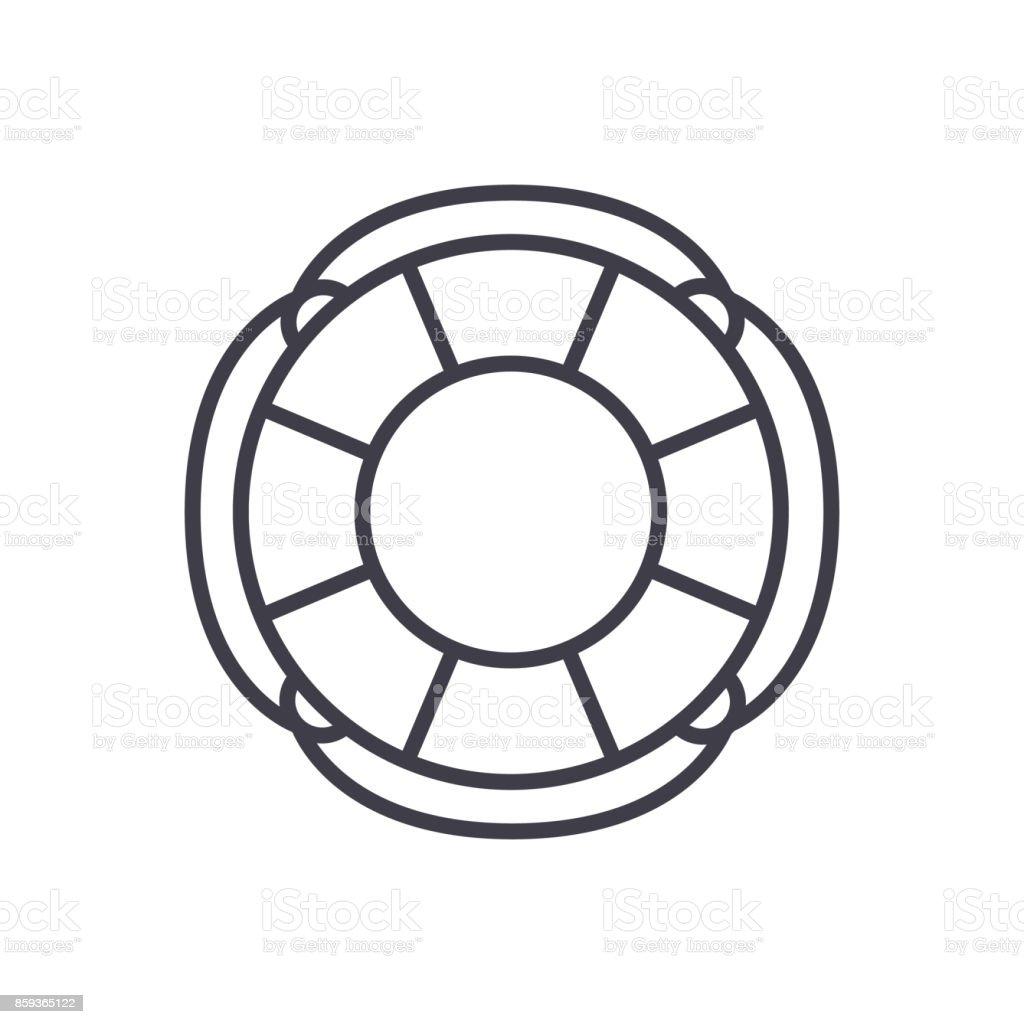 finance lifebuoy vector line icon, sign, illustration on background, editable strokes vector art illustration