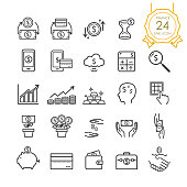 Finance line icon set elements of banknote, coin, credit card, exchange and money in hand for website, infographic or business, simple symbol. Vector illustration (Editable Stroke)