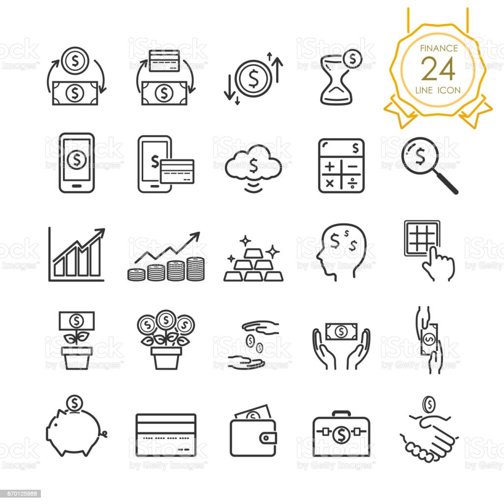 Finance line icon set elements of banknote, coin, credit card, exchange and money in hand for website, infographic or business, simple symbol. Vector illustration (Editable Stroke) vector art illustration