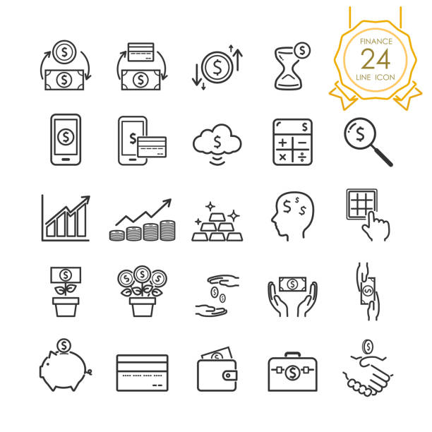 Finance line icon set elements of banknote, coin, credit card, exchange and money in hand for website, infographic or business, simple symbol. Vector illustration (Editable Stroke) Finance line icon set elements of banknote, coin, credit card, exchange and money in hand for website, infographic or business, simple symbol. Vector illustration (Editable Stroke) wages stock illustrations