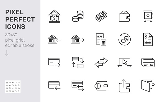 Finance line icon set. Money transfer, bank account, credit card payment cash back minimal vector illustration. Simple outline sign for online banking application. 30x30 Pixel Perfect Editable Stroke.