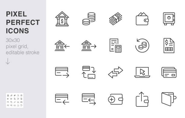 finance line icon set. money transfer, bank account, credit card payment cash back minimal vector illustration. simple outline sign for online banking application. 30x30 pixel perfect editable stroke - bank stock illustrations
