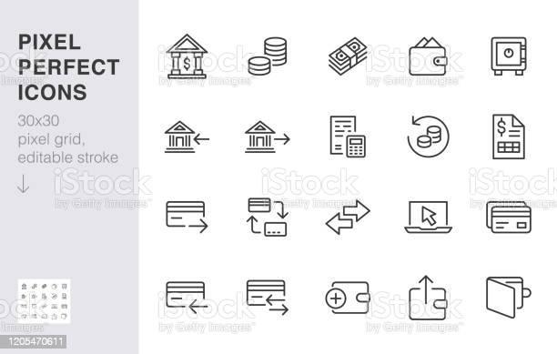 財務行圖示集匯款銀行帳戶信用卡付款現金回最小向量說明網上銀行應用的簡單大綱符號30x30 圖元完美可編輯描邊向量圖形及更多一組物體圖片
