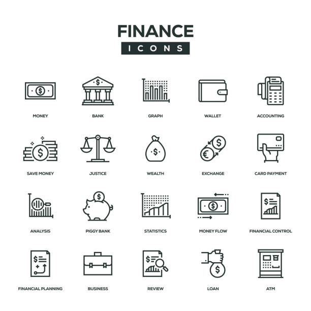 finance line icon set - bank stock illustrations