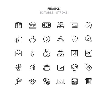 Finance Line Icons Editable Stroke