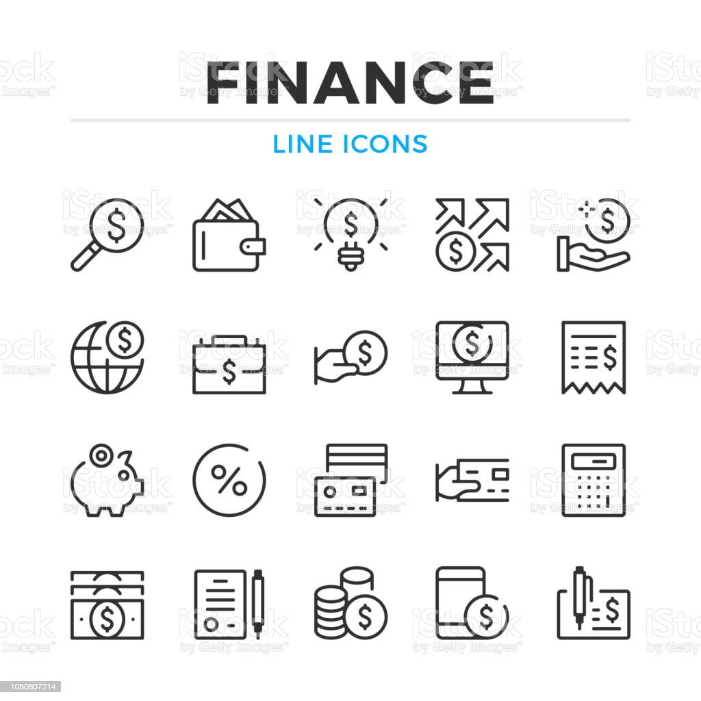 Finance line icons set. Modern outline elements, graphic design concepts. Stroke, linear style. Simple symbols collection. Vector line icons royalty-free finance line icons set modern outline elements graphic design concepts stroke linear style simple symbols collection vector line icons stock illustration - download image now