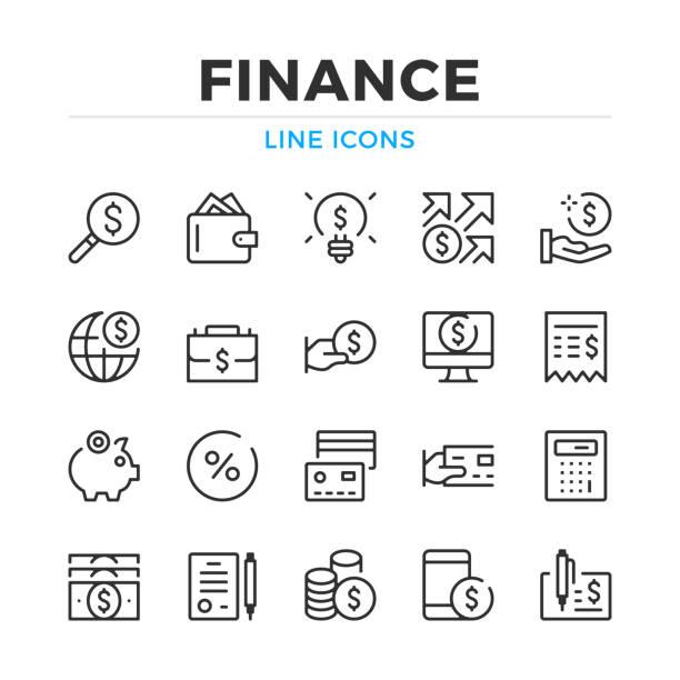 金融線圖示設置。現代輪廓元素, 平面設計概念。描邊, 線性樣式。簡單的符號集合。向量線圖示 - money 幅插畫檔、美工圖案、卡通及圖標