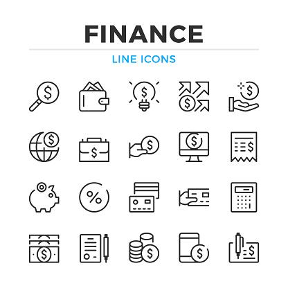 Finanzieren Sie Zeile Icons Set Moderne Gliederung Elemente Grafikdesignkonzepte Schlaganfall Linearen Stil Einfache Symbole Sammlung Vektorlinieicons Stock Vektor Art und mehr Bilder von Antragsformular