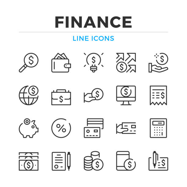 illustrazioni stock, clip art, cartoni animati e icone di tendenza di finance line icons set. modern outline elements, graphic design concepts. stroke, linear style. simple symbols collection. vector line icons - icona line