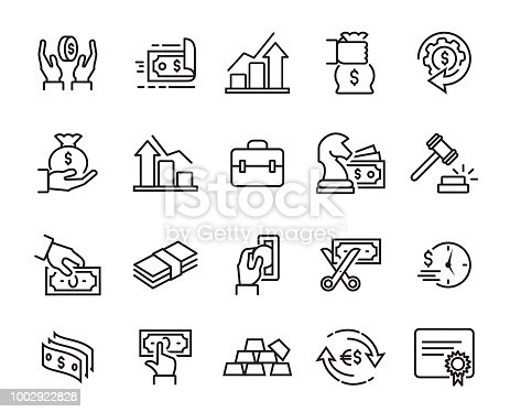Vector illustration of the finance line icons set.
