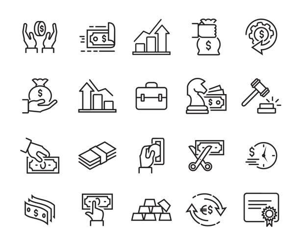 Finance Line Icons Set vector art illustration