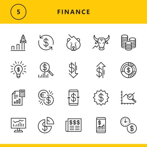 ilustrações, clipart, desenhos animados e ícones de ícones da linha da finança - moeda
