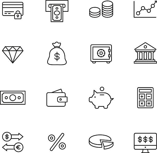 Finance Line Icons Finance line icons budget symbols stock illustrations