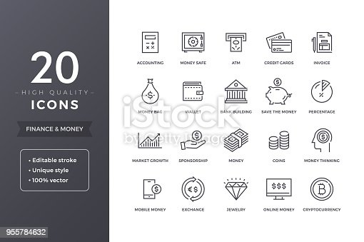 Finance line icons. Money and bank icon set with editable stroke