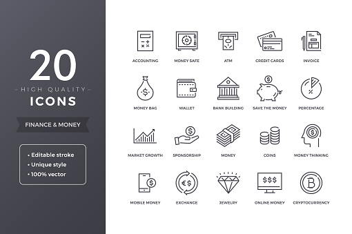 Finance Line Icons Stock Illustration - Download Image Now