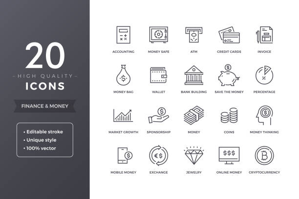 finance line icons - bank stock illustrations