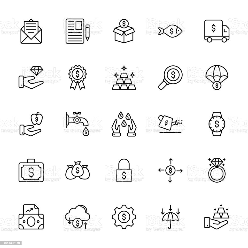 Finance Line Vector Icons vector art illustration