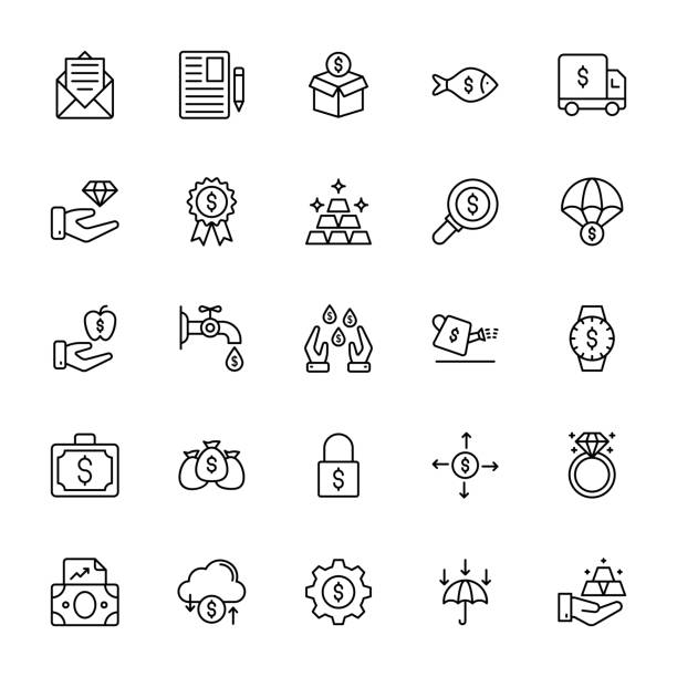 Finance Line Vector Icons vector art illustration