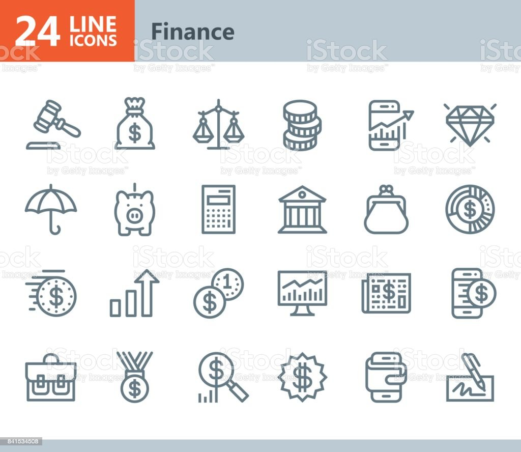 Finance - line vector icons vector art illustration