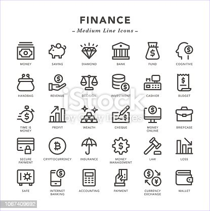 Finance - Medium Line Icons - Vector EPS 10 File, Pixel Perfect 30 Icons.