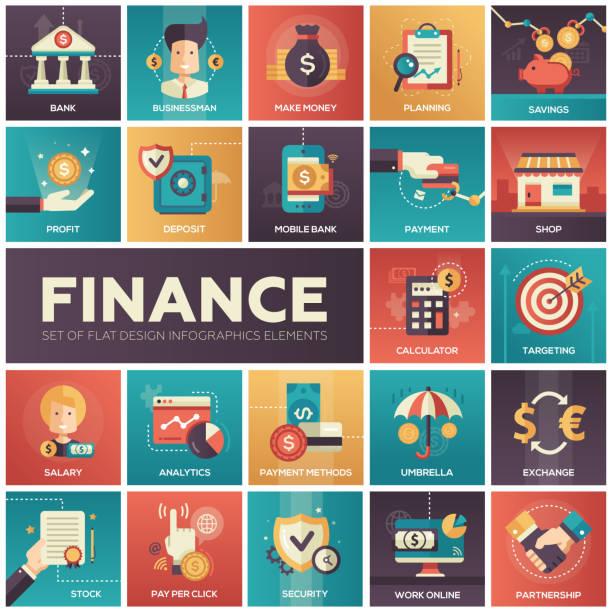 Finances, icônes conception plat moderne isquare - Illustration vectorielle