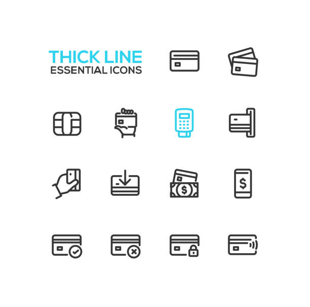 finance - modern vector single thick line icons set - credit cards stock illustrations, clip art, cartoons, & icons