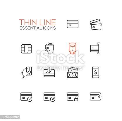 Finance - modern vector single thin line icons set. Credit card, microchip, hand, registrator, dollar bill, mobile device, check, denial, lock